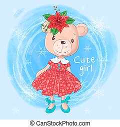 Cute christmas card with cartoon teddy bear girl and poinsettia. Vector illustration