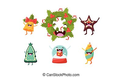 Cute Christmas cartoon characters set, funny decoration elements vector Illustration