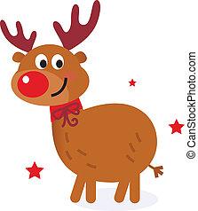 Cute christmas cartoon reindeer isolated on white