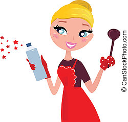 Beautiful blond Woman in red apron cleaning and cooking for Christmas. Vector