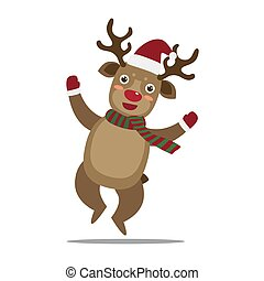 Cute Christmas Deer Jumping on iSolated White Background