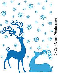 Christmas deers in snowfall, vector