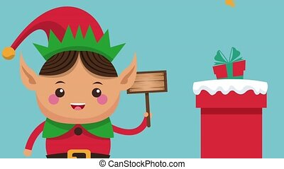 Cute christmas elf cartoon HD animation - Cute christmas elf...