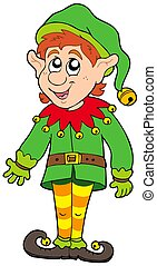 Cute Christmas elf - isolated illustration.
