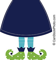 Cute christmas elf legs with skirt isolated on white - ...