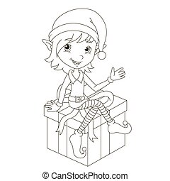 Cute Christmas elf sitting on gift