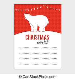 Cute Christmas greeting card, wish list. Polar bear with Christmas lights and snow. Hand drawn vector illustration background.