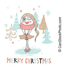 Cute Christmas greeting card with girl snowman.Vector illustration.