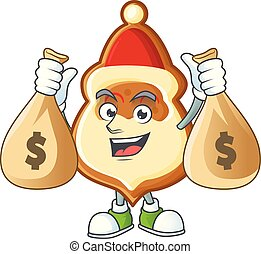Cute christmas hat cookies cartoon character smiley with money bag