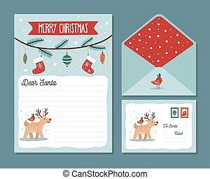 Cute christmas letter design template with deer