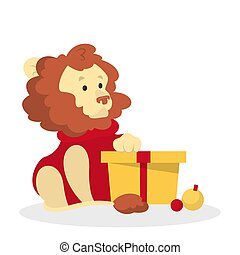 Cute christmas lion character with a gift box