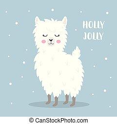 cute christmas llama - winter holidays greeting card, poster...