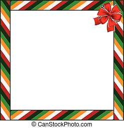 Cute Christmas or New Year border with colored striped pattern ornament and red festive bow copy space