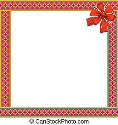 Cute christmas or new year frame with rhombus pattern, red bow