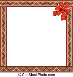 Cute christmas or new year frame with zig zag pattern and red festive bow