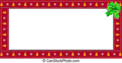 Cute Christmas or new year red rectangle banner, border, frame with copy space