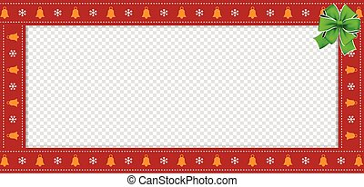 Cute Christmas or new year red rectangle billboard, border, frame with copy space