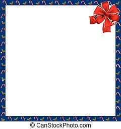Cute Christmas or new year square border with candy cane, berries pattern and red ribbon isolated