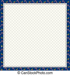 Cute Christmas or new year square frame with candy cane, berries pattern isolated