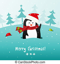 Cute Christmas penguin. Vector background. - Cute Christmas...