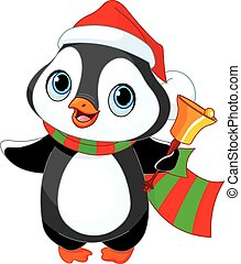 Christmas penguin  - Cute Christmas penguin with jingle bell