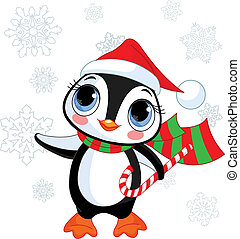 Cute Christmas penguin with Santa%u2019s hat and scarf