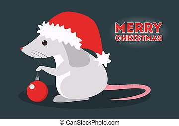 Cute christmas rat. Animal character in Santa Claus hat