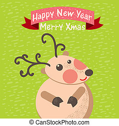 Cute Christmas reindeer card