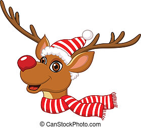 Cute Christmas Reindeer - Vector illustration of Cute...