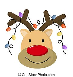 Cute Christmas reindeer face. Funny cartoon deer with decorative lights.
