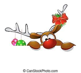 Cute Christmas reindeer Rudolf 4 - Cartoon reindeer on ...