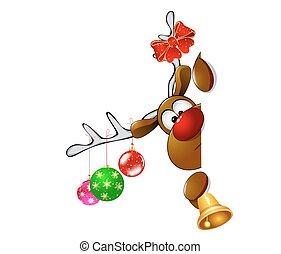 Cute Christmas reindeer Rudolf - Cartoon reindeer on ...