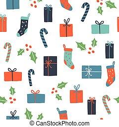 Cute Christmas seamless pattern.