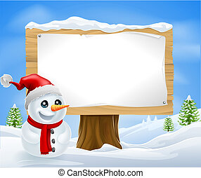 Cute Christmas Snowman and Sign