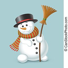 Cute Christmas snowman isolated on blue background