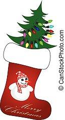 Cute Christmas Socks with christmas tree - vector cartoon Illustration