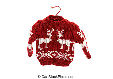 Cute Christmas sweater isolated on white background, Merry...
