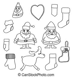 Cute Christmas toys set.