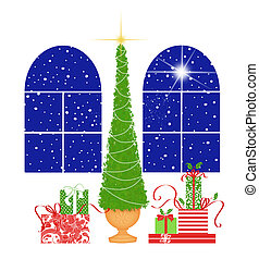 Cute Christmas Tree and Presents With Palladian Windows on White