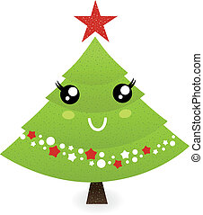Cute christmas tree character isolated on white