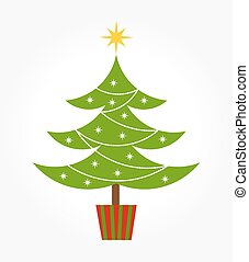 Cute Christmas tree - Cute decorated Christmas tree. Vector...