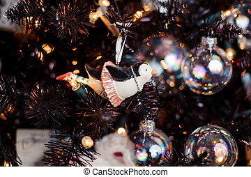 Cute Christmas tree decoration toy in the form of a penguin in skirt