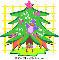 Cute Christmas Tree with Bird