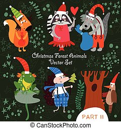 Cute Christmas vector set of  Woodland and Forest Animals.Gopher, bear, hedgehog, wolf, raccoon, goat,snail.(All objects are isolated groups so you can move and separate them)