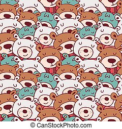 Cute christmas winter bear doodle seamless pattern