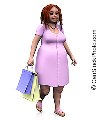 A cute chubby girl holding two shopping bags in her hand. White background.
