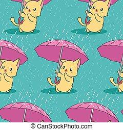 cute, chuvoso, guarda-chuva, pattern., seamless, gato, dia