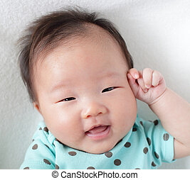 cute, cima, rosto, sorrizo, bebê, fim