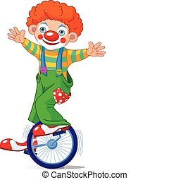 Cute Circus Clown on Unicycling. Vector Illustration