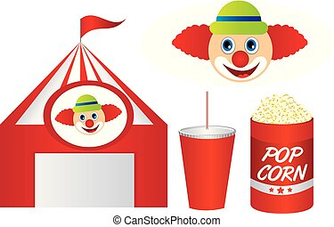 cute circus with pop corn and clown isolated over white backgrou